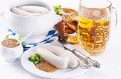 Munich breakfast with white sausages and beer