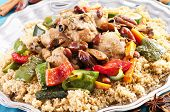 stock photo of tabouleh  - couscous marocain with chicken and vegetable - JPG