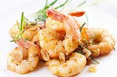 picture of antipasto  - fried black tiger prawns with herbs and spices - JPG
