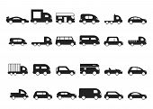 Car Icons. Pictograms Of Black Transport Truck Suv Minivan Vector Silhouettes Isolated. Hatchback Ca poster