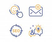 Seo, Smile And New Mail Icons Simple Set. Idea Sign. Search Target, Positive Feedback, Add E-mail. S poster
