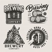 Vintage Beer Monochrome Logos Set With Brewing Equipment Wooden Barrels Hop Cones Hand Holding Beer  poster