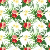 Tropical Flowers Seamless Pattern. Summer Tropic Flower, Wild Plants Leaves And Tropics Floral Party poster