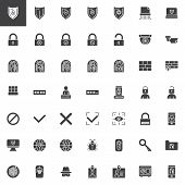 Cyber Security Vector Icons Set, Modern Solid Symbol Collection, Filled Style Pictogram Pack. Signs, poster