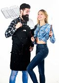 Picnic And Barbecue. Man Bearded Hipster And Girl Ready For Barbecue Party. Culinary Concept. Family poster