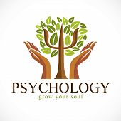 Psychology Concept Vector Logo Or Icon Created With Greek Psi Symbol As A Green Tree With Leaves And poster