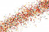 Multicolored Sugar Sprinkle Dots, Decoration For Cake, Isolated On White. Birthday And Holiday Backg poster