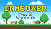 Game Over Screen. Retro 8 Bit Arcade Games, Old Pixel Video Game End And Pixels Press X To Try Again poster