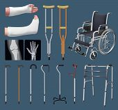 Set Of Objects Of Traumatology Medicine. Treatment Of Musculoskeletal System. Gypsum Tire, Crutch, X poster