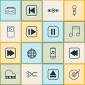 Music Icons Set With Musical Device, Rewind Music Back, Pause Music And Other Mute Song Elements. Is poster
