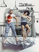 Cooking Breakfest Together. Top View Photo Of Young Couple And Their Child Or Family Sleeping In A B poster