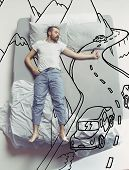 Hitch-hiking On The Road. Top View Photo Of Young Man Sleeping In A Big White Bed At Home. Dreams Co poster
