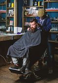Hipster Hairstyle Concept. Hipster Client Getting Haircut. Barber With Clipper Trimming Hair On Nape poster
