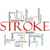 stock photo of hemorrhage  - A Stroke word cloud concept with terms such as doctor sudden brain bleed signs blockage and more - JPG