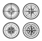 Old Navigation Compass Heraldic Icons. Vector Winds Rose Symbol Of Nautical Compass Of Marine And Se poster