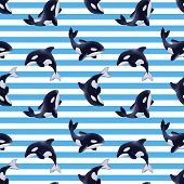 Seamless Pattern Of Killer Whales. Background With Cartoon Orcas poster