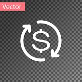 White Return Of Investment Icon Isolated On Transparent Background. Money Convert Icon. Refund Sign. poster