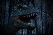 Dinosaur Statue In The Forest Park , Dinosaur Statue Image In Nature For Background. poster