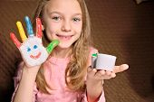 Little Girl With Painted Hands Finger Paint. Painted Palms poster