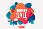 Summer Sale Promo Badge. Summer Abstract Geometric Background With Tropical Leaves, Watermelon Slice poster