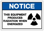 Notice Equipment Produces Radiation When Energized Symbol Sign, Vector Illustration, Isolate On Whit poster