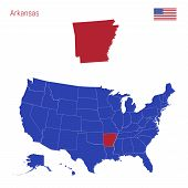The State Of Arkansas Is Highlighted In Red. Blue Vector Map Of The United States Divided Into Separ poster