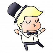 freehand drawn gradient cartoon of kawaii cute prom boy poster