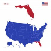 The State Of Florida Is Highlighted In Red. Blue Vector Map Of The United States Divided Into Separa poster