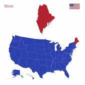 The State Of Maine Is Highlighted In Red. Blue Vector Map Of The United States Divided Into Separate poster