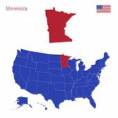 The State Of Minnesota Is Highlighted In Red. Blue Vector Map Of The United States Divided Into Sepa poster