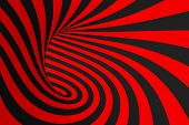 Torus 3d Optical Illusion Raster Illustration. Hypnotic Black And Red Tube Image. Contrast Twisting  poster