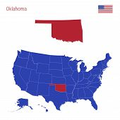The State Of Oklahoma Is Highlighted In Red. Blue Vector Map Of The United States Divided Into Separ poster
