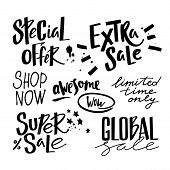 Vector Handwritten Sale Phrases In Grunge Style. Short Promotional Phrases poster