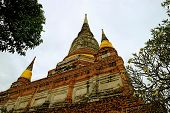 The Historic Stupa Or Chedi Of Wat Yai Chai Mongkhon Temple Against Cloudy Sky, Ayutthaya Archaeolog poster