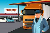 picture of truck-stop  - A vector illustration of a truck driver at a truck stop - JPG