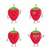 Collection Of Strawberry Characters In Different Expressions, Funny Fruit Character Isolated On Whit poster