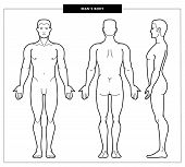 Vector Illustration Of Men Body And Man Anatomy. Front, Back Side Views. Outline Vector Illustration poster