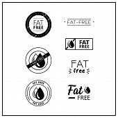 Vector Logos For Products. Icons Fat Free For Product Packaging. Fat-free Drawn Isolated Sign Icon S poster