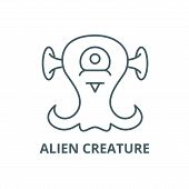Alien Creature Line Icon, Vector. Alien Creature Outline Sign, Concept Symbol, Flat Illustration poster