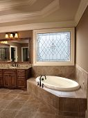 stock photo of hot-tub  - Luxury Bathroom with tub and Stained Glass - JPG