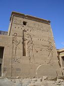 stock photo of aswan dam  - Facade of Philae temple and hieroglyphics Aswan Egypt - JPG