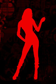 picture of domme  - Original silhouetted grunge image in red against brick background - JPG