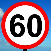 stock photo of mph  - A view of a 60 mph speed limit sign - JPG