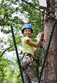 stock photo of parkour  - Preteen girl is climbing on the pine tree at the rope parkour - JPG