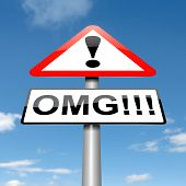 foto of slang  - Illustration depicting a roadsign with an omg concept - JPG