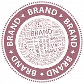 BRAND. Vector stamp. Word collage. poster