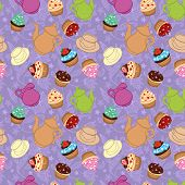 stock photo of girlie  - Violet tea vector background wit cupcakes - JPG
