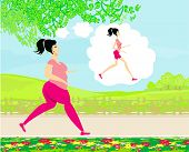 foto of skinny  - Young woman joggingfat girl dreams to be a skinny girl  - JPG