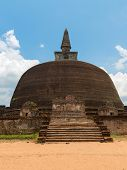 stock photo of polonnaruwa  - Rankoth Vehera the largest Buddhist dagoba at the ruins of the ancient kingdom capital Polonnaruwa Sri Lanka - JPG