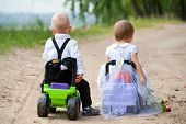 stock photo of girl toy  - two babies  - JPG